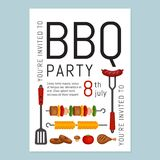 Bbq party invitation with grill and food. Barbecue poster. Food. Flyer. Flat style, vector illustration stock illustration