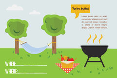 BBQ Party invitation. outdoor scene with grill and picnic basket stock illustration