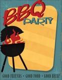 BBQ Party Invitation Retro Mid Century Modern. BBQ Party Invitation Retro Vintage Mid Century Modern Design Art Poster Flyer Print royalty free illustration