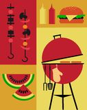 Bbq party invitation template stock illustration