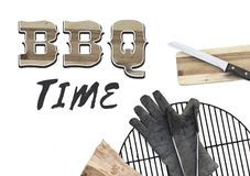 Free BBQ Party Invitation Text Bbq Time Angle Top View Barbecue Stuff Tools Grill W Royalty Free Stock Photos - 126262618