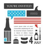BBQ party invitation. United States flag in speech Stock Photo