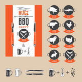 BBQ party invitation. Vector invitation card to the barbecue party. BBQ elements set for invitation card or flyer or poster Stock Images
