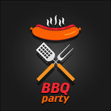 BBQ party invitation. Vector illustration poster Stock Images