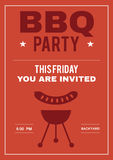 BBQ Party Invite Poster of Invitation Card royalty free stock image
