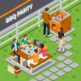BBQ Party Isometric Composition. With cooking on grill, people at table with foods, dancing woman vector illustration Royalty Free Stock Photo