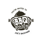 BBQ party label in monochrome style. Invitation to grill, barbeque event. Isolated on white background. Vintage black Royalty Free Stock Photo