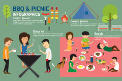 BBQ Party and Picnic infographics. Vector illustration Royalty Free Stock Photography