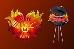 BBQ Party Poster Barbecue Vector Illustration. BBQ party poster with text in flame. Barbecue icon of brazier with grille grid and sausages cooking on fire. Hot vector illustration