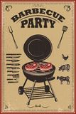 Bbq party poster. Barbeque and grill. Design element for card, banner, flyer. Vector illustration royalty free illustration