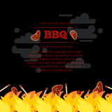 BBQ party poster design with fire and meat. Barbecue design banner. Vector illustration Royalty Free Stock Photography