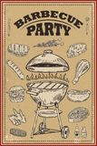 Bbq party poster with hand drawn design elements. Barbeque and grill. for card, banner, flyer. Vector illustration royalty free illustration