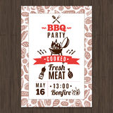 Bbq Party Poster. Bbq party promo poster with fresh grilled meat elements vector illustration Royalty Free Stock Photography