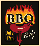 Bbq party. Retro banner with sausage on a fork and an inscription in the fire BBQ royalty free illustration
