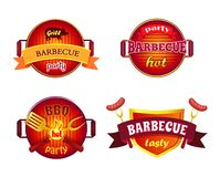 BBQ Party Set Icons Barbecue Vector Illustration. BBQ party set of isolated icons barbecue vector. Roasting sausages and frankfurters on forks. Spatula and royalty free illustration