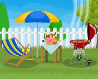 Bbq party. Sun lounger,. Grill with barbecue and umbrella. Cooking steak, meat and sausages, grilling bbq. Vector illustration flat style Royalty Free Stock Photography