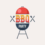 Bbq party symbol. With grill. Vector illustration in cartoon style design isolated on white royalty free illustration