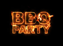 BBQ Party. Text on fire  on black background Royalty Free Stock Photos