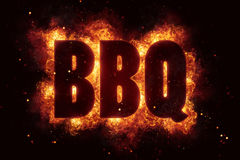 BBQ Party text on fire flames explosion. Explode Stock Images