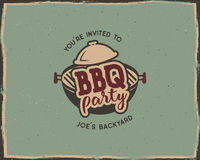 BBQ party typography poster template in retro old style. Offset and letterpress design. Letter press label, emblem. Isolated on scratched background. Stock Stock Photo
