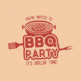 BBQ party typography poster template in retro old style. Offset and letterpress design. Letter press label, emblem Royalty Free Stock Image
