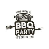 BBQ party typography poster template in retro old style. Offset and letterpress design. Letter press label, emblem Royalty Free Stock Photos