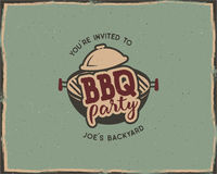 BBQ party typography poster template in retro old style. Offset and letterpress design. Letter press label, emblem. On scratched background. Stock Royalty Free Stock Images