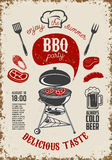 BBQ party vintage flyer on grunge background. Grill with kitchen. Tools, steaks, sausage. Design elements for restaurant menu, poster. Vector illustration Royalty Free Stock Photo