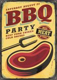 BBQ party vintage metal sign template vector illustration