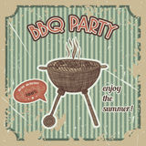 Bbq party vintage poster with bbq grill on the grunge background. Retro hand drawn vector illustration Stock Photography
