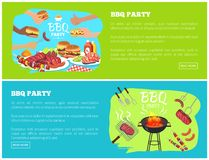 BBQ Party Web Sites with Text Vector Illustration vector illustration
