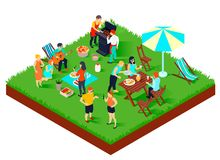BBQ Picnic Isometric Illustration Royalty Free Stock Photography
