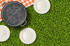 Bbq picnic in park banner, poster design. Vector realistic 3d illustration of barbecue grill, plate on green grass lawn. Bbq picnic in park, banner or poster Royalty Free Stock Images