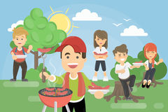 BBQ picnic in park. Royalty Free Stock Photo