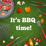 Bbq picnic poster. Bbq barbecue grill picnic poster with meat fish vegetables vector illustration stock illustration