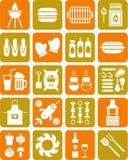 BBQ pictogrammen Stock Fotografie