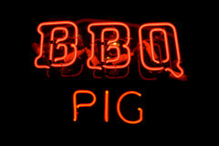 BBQ Pig neon sign Royalty Free Stock Photo