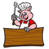 BBQ Pig with Sign Stock Image