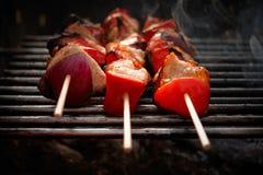 BBQ. Pollo e verdure cotti Fotografia Stock Libera da Diritti