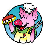 BBQ Pork. Advertise your upcoming bbq event with this colorful cartoon piglet stock illustration