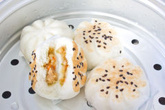 BBQ Pork Bun, Steamed chicken and Shrimp buns Royalty Free Stock Images