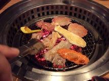 BBQ pork chicken or vegetable. BBQ pork chicken vegetable seafood Korean style Royalty Free Stock Images