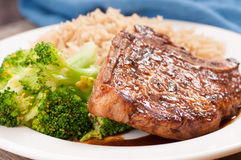 bbq pork chop with brown rice Stock Image