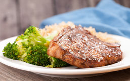 bbq pork chop with brown rice Stock Images