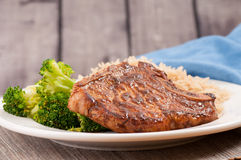 bbq pork chop with brown rice Royalty Free Stock Images