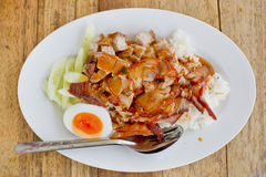 BBQ Pork and Crispy Pork over Rice with Sweet Gravy Sauce Royalty Free Stock Images