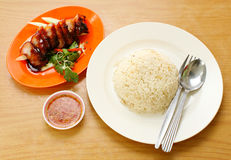 BBQ Pork and Crispy Pork with Rice. Stock Images