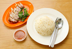 BBQ Pork and Crispy Pork with Rice. Royalty Free Stock Photography