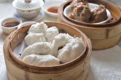 BBQ pork bun dim sum. BBQ pork dumpling dim sum royalty free stock photography
