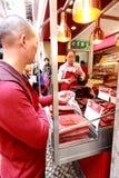 BBQ pork fillet seller in Macau Stock Photography